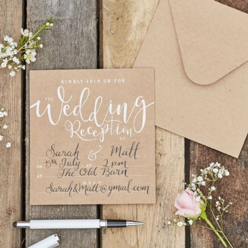 Rustic Country Wedding Reception Invitations (10pk)